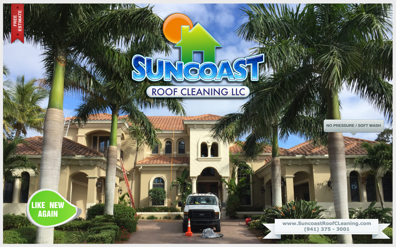 Tile roof cleaning by Suncoast Roof Cleaning in Sarasota