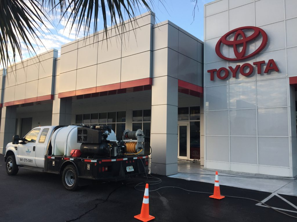 Toyota showroom cleaning by Suncoast Roof Cleaning in Sarasota